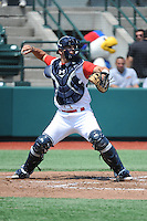 Brooklyn Cyclones catcher Tyler Moore (15) during game 2 of a double header against the Hudson Valley Renegades at MCU Park on July 8, 2014 in Brooklyn, NY.  Hudson Valley defeated Brooklyn 3-0.  (Tomasso DeRosa/Four Seam Images)