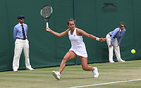 Barbora Strycova (CZE) during her match against  Elise Mertens (BEL) in their Ladies' Singles Fourth Round match<br /> <br /> Photographer Rob Newell/CameraSport<br /> <br /> Wimbledon Lawn Tennis Championships - Day 7 - Monday 8th July 2019 -  All England Lawn Tennis and Croquet Club - Wimbledon - London - England<br /> <br /> World Copyright © 2019 CameraSport. All rights reserved. 43 Linden Ave. Countesthorpe. Leicester. England. LE8 5PG - Tel: +44 (0) 116 277 4147 - admin@camerasport.com - www.camerasport.com