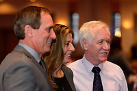 Philadelphia, PA - Thursday January 18, 2018: Jim Gabarra, Denise Reddy, Tom Sermanni during the 2018 NWSL College Draft at the Pennsylvania Convention Center.