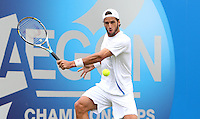 11.06.13 London, England. Feliciano Lopez (ESP) in action playing against Ricardas Berankis (LTU) during the The Aegon Championships from the The QueenÕs Club in West Kensington.