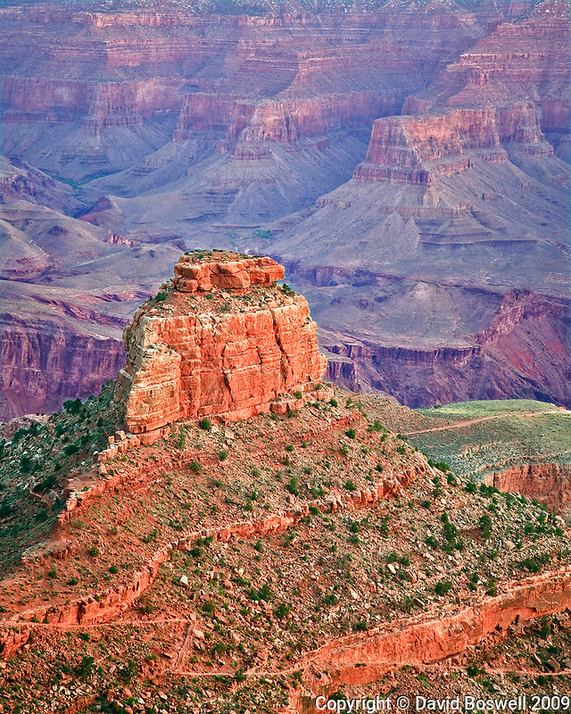 Oneill Butte, seen in the early dawn light from Cedar Ridge on the South Kaibab Trail in Grand Canyon National Park.