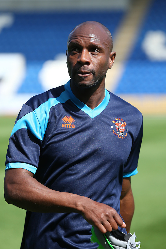 Blackpool's Emmerson Boyce during the pre-match warm-up <br /> <br /> Photographer  Kieran Galvin/CameraSport<br /> <br /> Football - The Football League Sky Bet League One - Colchester United v Blackpool - Saturday 08th August 2015 - Weston Homes Community Stadium - Colchester<br /> <br /> &copy; CameraSport - 43 Linden Ave. Countesthorpe. Leicester. England. LE8 5PG - Tel: +44 (0) 116 277 4147 - admin@camerasport.com - www.camerasport.com