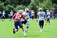 Wednesday, August 17, 2016: New England Patriots quarterback Tom Brady (12) fakes a hand-off to running back LeGarrette Blount (29) at a joint training camp session between the Chicago Bears and the New England Patriots held at Gillette Stadium in Foxborough Massachusetts. Eric Canha/CSM