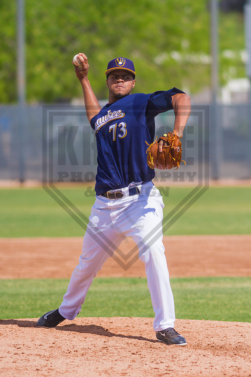 Milwaukee Brewers pitcher Rodrigo Benoit (73) during a minor league spring training intrasquad game on March 22nd, 2017 at Maryvale Baseball Park in Maryvale, Arizona.  (Brad Krause/Krause Sports Photography)