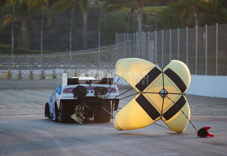 Nov 11, 2018; Pomona, CA, USA; NHRA funny car driver Tommy Johnson Jr during the Auto Club Finals at Auto Club Raceway. Mandatory Credit: Mark J. Rebilas-USA TODAY Sports