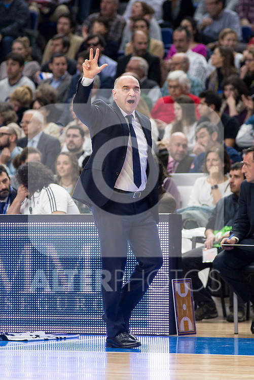 Real Madrid's coach Pablo Laso during the match between Real Madrid and CSKA Moscu of Turkish Airlines Euroleague at Barclaycard Center in Madrid, March 02, 2016. (ALTERPHOTOS/BorjaB.Hojas) during the match between Real Madrid and CSKA Moscu of Turkish Airlines Euroleague at Barclaycard Center in Madrid, March 02, 2016. (ALTERPHOTOS/BorjaB.Hojas)