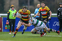 Harry CASSON of Ealing Trailfinders makes the tackle during the Championship Cup match between Ealing Trailfinders and Richmond at Castle Bar , West Ealing , England  on 15 December 2018. Photo by David Horn.