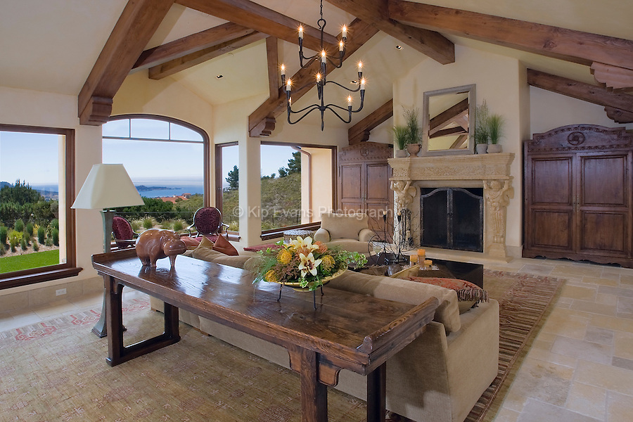 The living room of a private residence in Carmel, California.