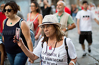 &quot;The mafia is a mountain of shit&quot; - Giuseppe Impastato - https://en.wikipedia.org/wiki/Giuseppe_Impastato<br /> <br /> Palermo (Sicily - Italy), 17/07/2017. March of the Agende Rosse, from &quot;Casa di Paolo&quot; to the Faculty of Law at the University of Palermo, to mark the 25th Anniversary of Via D'Amelio bombing where an est. 100kg TNT bomb killed the anti-mafia Magistrate Paolo Borsellino. Also killed by the bomb were five members of Borsellino's police &quot;scorta&quot; (escorts from the special branch of the Italian police force who protect Judges). The police officers were: Agostino Catalano, Emanuela Loi (the first Italian female member of the police special branch and the first one to be killed on duty), Vincenzo Li Muli, Walter Eddie Cosina and Claudio Traina.<br /> <br /> For more info please click here: http://19luglio1992.com &amp; https://www.facebook.com/agenderosse/ &amp; https://en.wikipedia.org/wiki/Via_D%27Amelio_bombing (English Version) &amp; https://it.wikipedia.org/wiki/Strage_di_via_D%27Amelio (Italian Version)