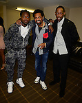 MIAMI, FL - JANUARY 16: Cincinnati Bengals #24 Cornerback Adam 'Packman' Jones, Actor/comedian Mike Epps and  Henry Welch backstage during The Festival of Laughs day1 at James L Knight Center on Friday January 16, 2015 in Miami, Florida. (Photo by Johnny Louis/jlnphotography.com)
