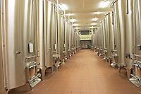 Chateau St Martin de la Garrigue. Languedoc. Stainless steel fermentation and storage tanks. France. Europe.