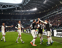 Calcio, Serie A: Juventus - Cagliari, Turin, Allianz Stadium, January 6, 2020.<br /> Juventus' Cristiano Ronaldo (r) celebrates after scoring his third goal in the match with his teammates during the Italian Serie A football match between Juventus and Cagliari at Torino's Allianz stadium, on January 6, 2020.<br /> UPDATE IMAGES PRESS/Isabella Bonotto