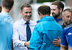 Queen of the South v St Johnstone&hellip;18.08.18&hellip;  Palmerston    BetFred Cup<br />Gary Naysmith greets saints assistant manager Alec Cleland<br />Picture by Graeme Hart. <br />Copyright Perthshire Picture Agency<br />Tel: 01738 623350  Mobile: 07990 594431