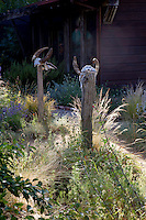 Whimsical art on posts among grasses in California meadow garden
