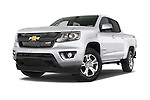 Stock pictures of low aggressive front three quarter view of a 2015 Chevrolet Colorado Z71 Crew Cab 4 Door Pick Up Low Aggressive