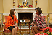 Washington, DC - October 23, 2009 -- First Lady Michelle Obama and Queen Silvia of Sweden meet in the Yellow Oval Room of the White House, October 23, 2009. (Official White House Photo by ).Mandatory Credit: Samantha Appleton - White House via CNP