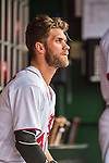 15 June 2016: Washington Nationals outfielder Bryce Harper sits in the dugout during game action against the Chicago Cubs at Nationals Park in Washington, DC. The Nationals defeated the Cubs 5-4 in 12 innings to take the rubber match of their 3-game series. Mandatory Credit: Ed Wolfstein Photo *** RAW (NEF) Image File Available ***