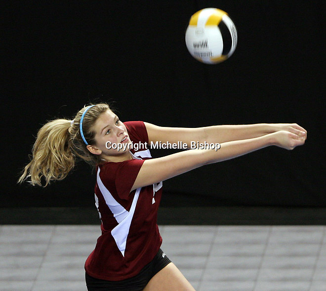 North Idaho College's Marketa Hanzlova sets up a pass during Friday's game against Northwest Shoals Community College at the National Junior College Athletic Association Division I National Championships held at the Mid-America Center in Council Bluffs, Iowa. (photo by Michelle Bishop)