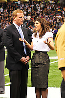 Rita Benson Leblanc with NFL Football Commissioner Roger Goodell on the New Orleans Saints sidelines.. Photo©Suzi Altman