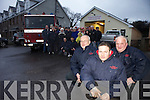 SOS: Members of the Castlegregory Fire Service Peter Egan, Padraig Quirke and Pat Barry pictured with locals who are disappointed and angry that their local fire service is being closed by Kerry County Council.