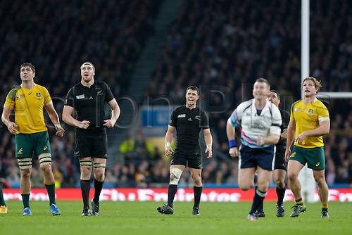 31.10.2015. Twickenham, London, England. Rugby World Cup Final. New Zealand versus Australia.  New Zealand outhalf Dan Carter reacts in jubilation as he watches his drop goal attempt sail over successfully to extend his side's lead