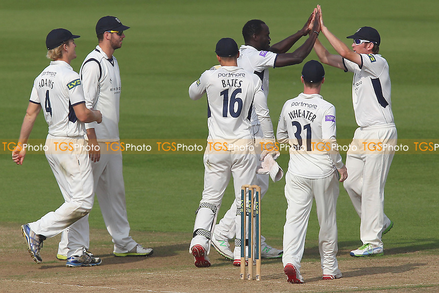 Ruel Braithwaite of Hampshire is congratulated on taking the wicket of Tom Westley - Hampshire CCC vs Essex CCC - LV County Championship Division Two Cricket at the Ageas Bowl, Hedge End, Southampton - 25/09/13 - MANDATORY CREDIT: Gavin Ellis/TGSPHOTO - Self billing applies where appropriate - 0845 094 6026 - contact@tgsphoto.co.uk - NO UNPAID USE