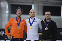 SPEEDSKATING: 15-02-2020, Utah Olympic Oval, ISU World Single Distances Speed Skating Championship, Podium 1000m Men, Kjeld Nuis (NED), Pavel Kulizhnikov (RUS), Laurent Dubreuil (CAN), ©photo Martin de Jong