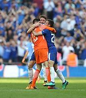 Chelsea's Thibaut Courtois, Gary Cahill and Cesar Azpilicueta celebrate at the final whistle<br /> <br /> Photographer Rob Newell/CameraSport<br /> <br /> Emirates FA Cup Final - Chelsea v Manchester United - Saturday 19th May 2018 - Wembley Stadium - London<br />  <br /> World Copyright &copy; 2018 CameraSport. All rights reserved. 43 Linden Ave. Countesthorpe. Leicester. England. LE8 5PG - Tel: +44 (0) 116 277 4147 - admin@camerasport.com - www.camerasport.com