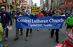 "Members of Central Lutheran Church in Seattle were among hundreds of people who marched from Westlake Center Park to the Seattle Center on January 13, 2013, calling for stricter regulations of firearms. Sponsored by a network of churches and other groups called ""Stand-up Washington,"" the demonstrators called for a state ban on semi-automatic weapons as well as stricter gun laws."