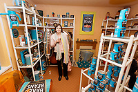 Pictured: Visitor Clare Legakis. Sunday 27 January 2019<br /> Re: 10 year anniversary of the Baked Bean Museum of Excellence, owned by Captain Beany (real name Barry Kirk) in a Council flat in Port Talbot, south Wales, UK.