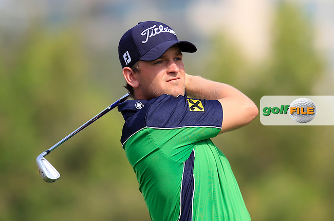 Bernd Wiesberger (AUT) tees off the 4th tee during Thursday's Round 1 of the 2013 Omega Dubai Desert Classic held at the Emirates Golf Club, Dubai, 31st January 2013..Photo Eoin Clarke/www.golffile.ie