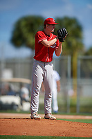 Tyler Chadwick during the WWBA World Championship at the Roger Dean Complex on October 18, 2018 in Jupiter, Florida.  Tyler Chadwick is a right handed pitcher from Marshall, Wisconsin who attends Marshall High School and is committed to West Virginia.  (Mike Janes/Four Seam Images)