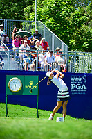 Mi Hyang Lee (KOR) watches her tee shot on 1 during Sunday's final round of the 2017 KPMG Women's PGA Championship, at Olympia Fields Country Club, Olympia Fields, Illinois. 7/2/2017.<br /> Picture: Golffile | Ken Murray<br /> <br /> <br /> All photo usage must carry mandatory copyright credit (&copy; Golffile | Ken Murray)