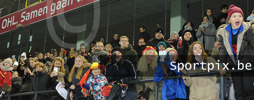 20161124 - LEUVEN ,  BELGIUM : Belgian fans pictured during the female soccer game between the Belgian Red Flames and The Netherlands , a friendly game before the European Championship in The Netherlands 2017  , Thursday 24 th November 2016 at Stadion Den Dreef  in Leuven , Belgium. PHOTO SPORTPIX.BE | DIRK VUYLSTEKE