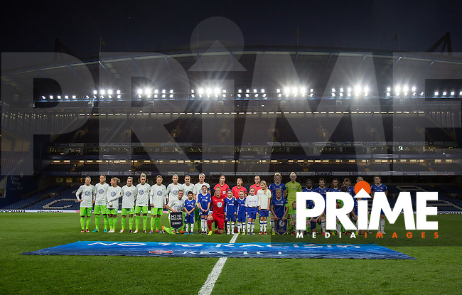 The Teams pose for a pre match photo during the UEFA Women's Champions League match between Chelsea Ladies and VfL Wolfsburg at Stamford Bridge, London, England on 5 October 2016. Photo by Andy Rowland.