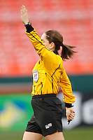 Referee Sandra Serafini indicates an indirect free kick. The women's national team of the United States defeated Canada 6-0 during an international friendly at Robert F. Kennedy Memorial Stadium in Washington, D. C., on May 10, 2008.