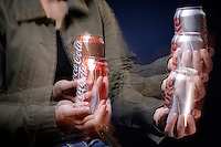 COMPARING WEIGHT OF DIET VS. REGULAR COLA<br /> By Moving Cans Up &amp; Down.<br /> Regular soda has a mass 4% greater than diet soda. This small difference is detectable by sensing how the mass of each can resists acceleration.