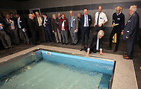 Pictured: Swansea University Richard B Davies dips his hand in the water at the Hydro unit Tuesday 04 April 2017<br />Re: Official opening of the Fairwood Training Complex of Swansea City FC, Wales, UK