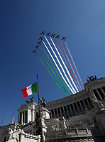 The Italian Air Force aerobatic unit Frecce Tricolori (Tricolor Arrows) perform on April 25, 2020 over the Altare della Patria - King Vittorio Emanuele II monument in Rome, on the 75th anniversary of Liberation Day, which marks the fall of Nazi occupation in 1945, during the country's lockdown aimed at curbing the spread of the COVID-19 infection, caused by the novel coronavirus.<br /> UPDATE IMAGES PRESS/Isabella Bonotto