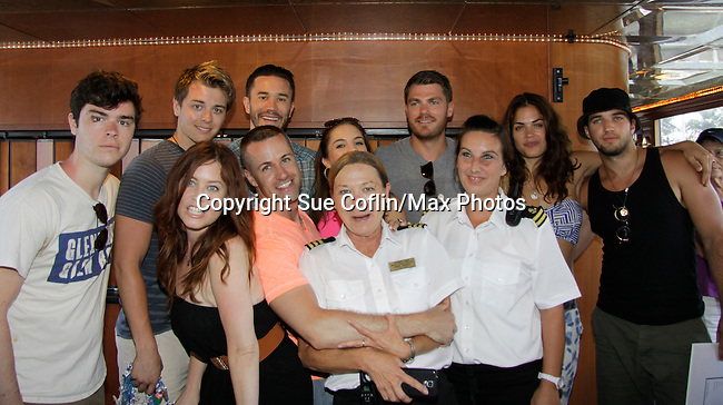 Eddie Alderson, Chad Duell, Tom Pelphrey, Kristen Alderson, Jeff Branson, Kelly Thiebaud, Bryan Craig - Melissa Archer, John Driscoll donated time at 15th Southwest Florida Soapfest 2014 Charity Weekend - at Cruisin' and Schmoozin' on May 25, 2104 aboard the Marco Island Princess (boat), Marco Island, Florida.  (Photo by Sue Coflin/Max Photos)