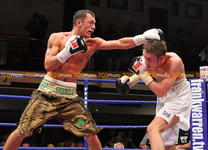 Grant Skehill (Hackney, brown/gold shorts) defeats JJ Bird (Peterborough, white shorts) in a Light-Middleweight boxing contest at York Hall, Bethnal Green promoted by Frank Warren / Sports Network - 21/11/08 - MANDATORY CREDIT: Gavin Ellis/TGSPHOTO - Self billing applies where appropriate - 0845 094 6026 - contact@tgsphoto.co.uk - NO UNPAID USE.