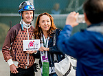 LOUISVILLE, KENTUCKY - MAY 01: Jockey Julien poses for a photo with Tasuyo Yoshizawa, wife of the owner of Kentucky Derby entrant Master Fencer, after Leparoux autographed a collectible for her at Churchill Downs in Louisville, Kentucky on May 1, 2019. Scott Serio/Eclipse Sportswire/CSM