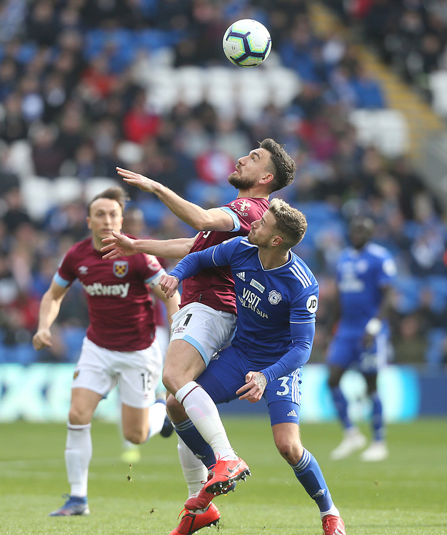 West Ham United's Robert Snodgrass and Cardiff City's Joe Bennett<br /> <br /> Photographer Rob Newell/CameraSport<br /> <br /> The Premier League - Cardiff City v West Ham United - Saturday 9th March 2019 - Cardiff City Stadium, Cardiff<br /> <br /> World Copyright © 2019 CameraSport. All rights reserved. 43 Linden Ave. Countesthorpe. Leicester. England. LE8 5PG - Tel: +44 (0) 116 277 4147 - admin@camerasport.com - www.camerasport.com