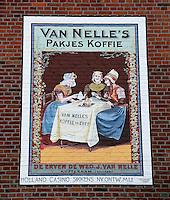 Valkenburg- Muurschildering van Van Nelle's  Pakjes Koffie