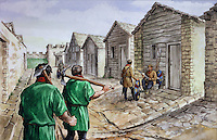 Illustration of the chalet barracks at Housesteads Roman fort on Hadrian's Wall in the 4th century AD, by Philip Corke, at the Housesteads Roman Fort Museum, Hadrian's Wall, Northumberland, England. Housesteads Fort was built in 124 AD and is the most complete Roman fort in Britain, built by legionaries to house 10 centuries of auxiliary soldiers based on the frontier. Around 300 AD, the communal barracks at the fort were demolished and replaced with chalet style houses for each soldier. Hadrian's Wall was built 73 miles across Britannia, now England, 122-128 AD, under the reign of Emperor Hadrian, ruled 117-138, to mark the Northern extent of the Roman Empire and guard against barbarian attacks from the Picts to the North. The Housesteads Roman Fort Museum is run by English Heritage and forms part of the Hadrian's Wall UNESCO World Heritage Site. Picture by Manuel Cohen
