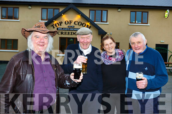 Top of the Coom pals Dan Kelliher, Joe Kelly and John McCarthy with Eileen Creedon proprietor toast the red haired guy (Ed Sheerin) praising them on the Late Late show last week