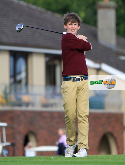 James Carson (Malone) on the 1st tee during the Irish Boys Under 15 Amateur Open Championship Round 2 at the West Waterford Golf Club on Wednesday 21st August 2013 <br /> Picture:  Thos Caffrey/ www.golffile.ie