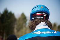 Paris-Roubaix 2013 RECON at Bois de Wallers-Arenberg..former winner Johan Vansummeren (BEL) swearing by a mullet