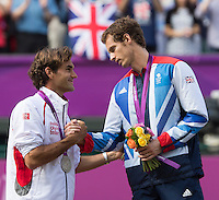 ..Tennis - OLympic Games -Olympic Tennis -  London 2012 -  Wimbledon - AELTC - The All England Club - London - Sunday 5th August  2012. .© AMN Images, 30, Cleveland Street, London, W1T 4JD.Tel - +44 20 7907 6387.mfrey@advantagemedianet.com.www.amnimages.photoshelter.com.www.advantagemedianet.com.www.tennishead.net