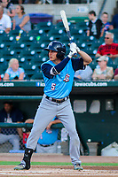 Colorado Springs Sky Sox outfielder Kyle Wren (5) at bat during game two of a Pacific Coast League doubleheader against the Iowa Cubs on August 17, 2017 at Principal Park in Des Moines, Iowa. Iowa defeated Colorado Springs 6-0. (Brad Krause/Four Seam Images)